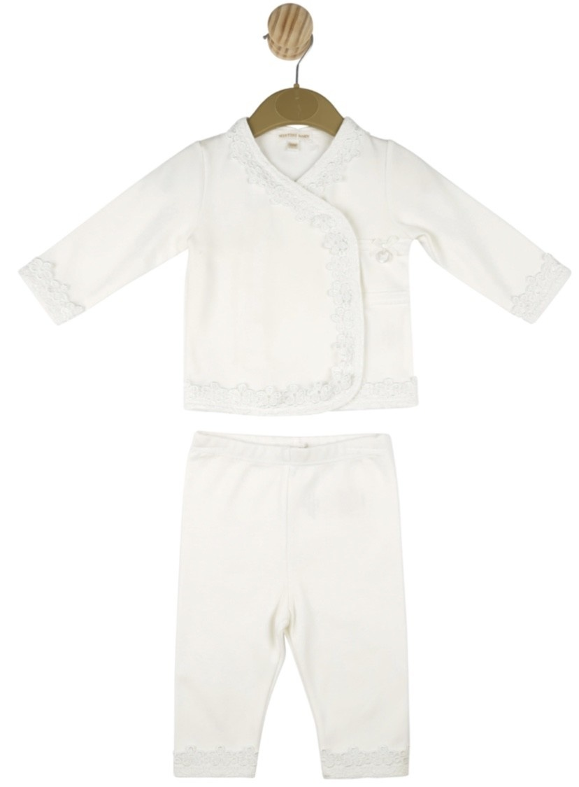 Mintini Baby Mintini Baby Girl Top and trouser set Ivory MB2864