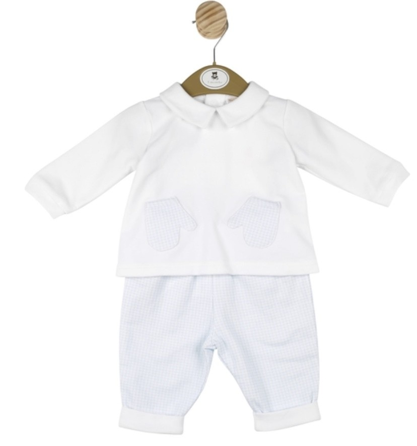 Mintini Baby Mintini Boys Top and Trouser Set Blue/White MB3109