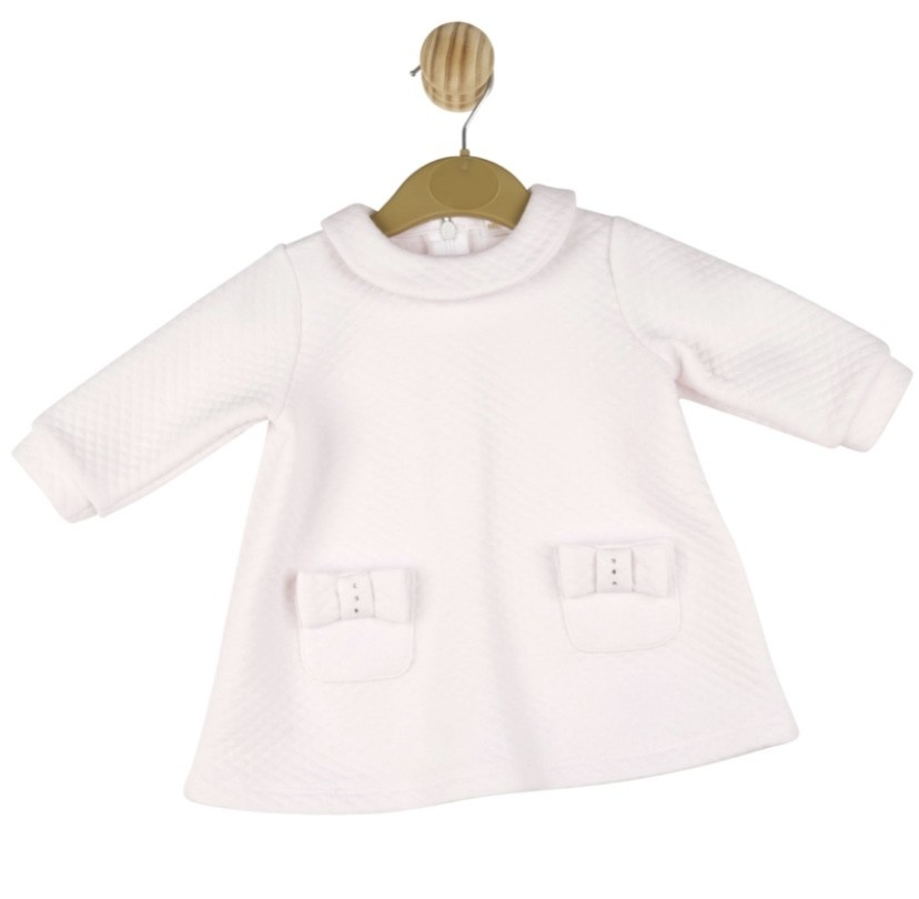 Mintini Baby Mintini Girls Pink Quilted Dress with Bow Pocket Detail MB3056