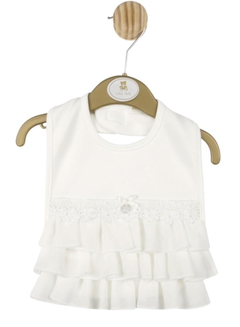 Mintini Baby Mintini Baby Girl Ivory bib one size mb2862