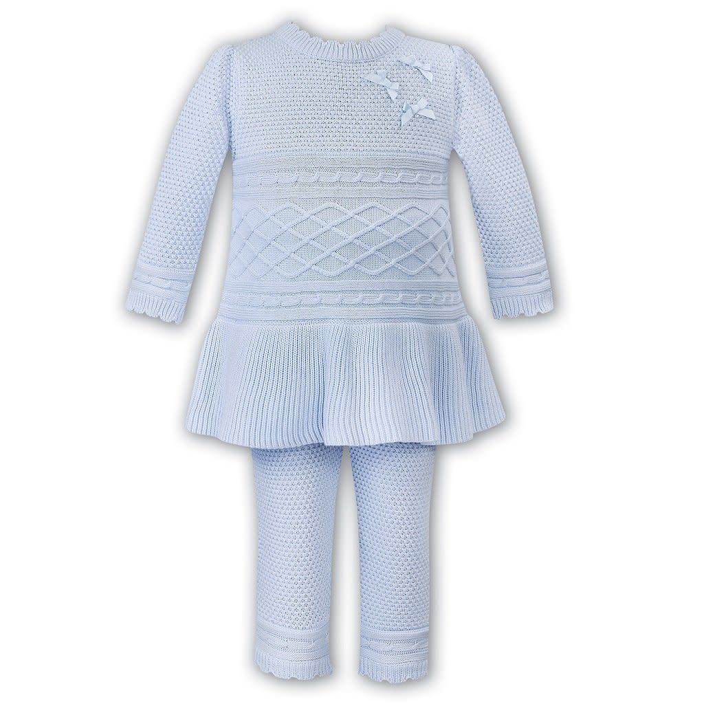 Sarah Louise Dani Girls Blue Knitted 2 Piece Top and Trouser Set D09359