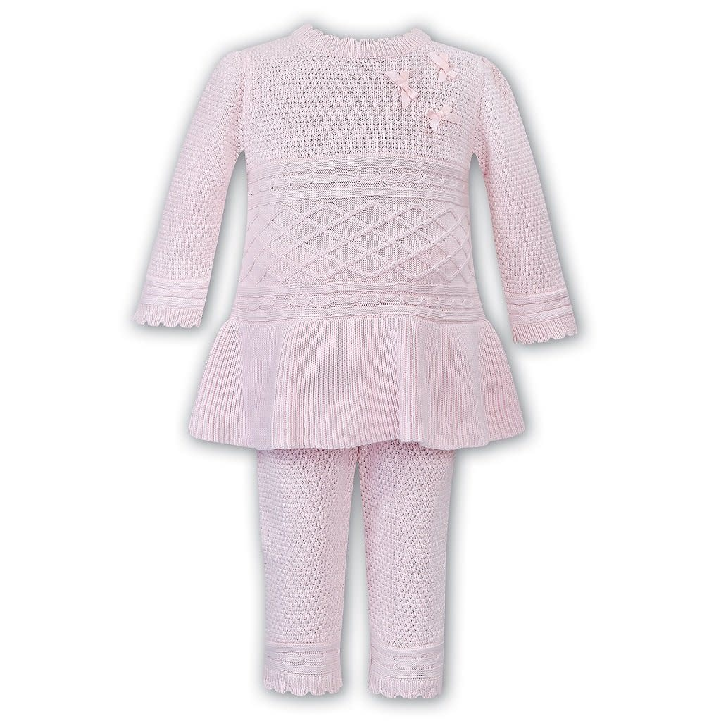 Sarah Louise Dani Girls Pink Knitted 2 Piece Top and Trouser Set D09359
