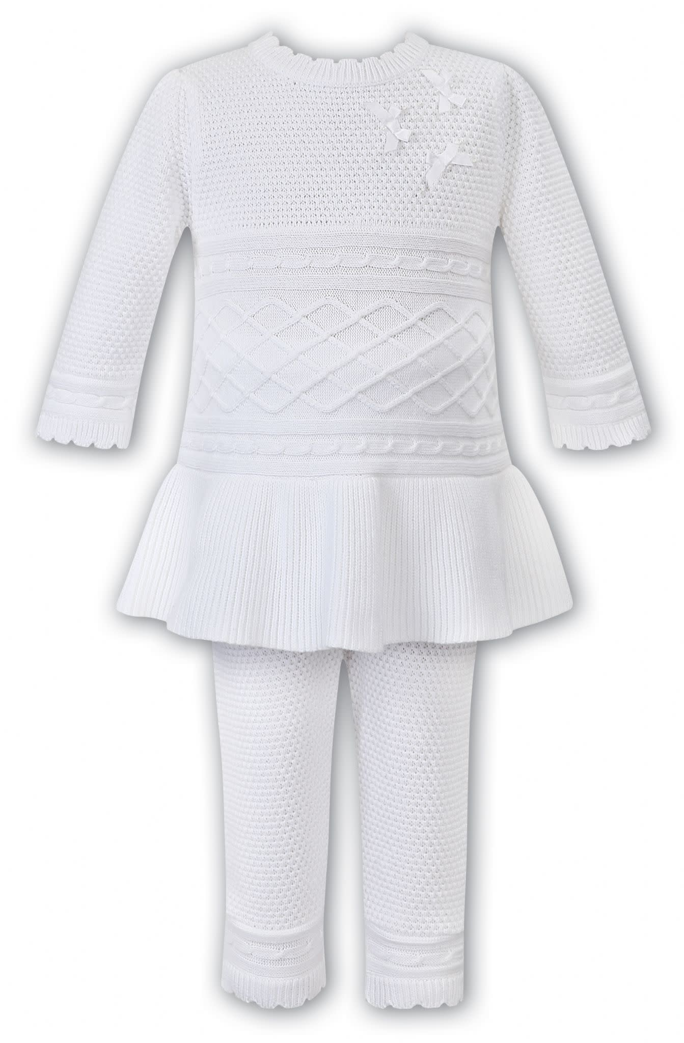 Sarah Louise Dani Girls White Knitted 2 Piece Top and Trouser Set D09359 Age 3 Years