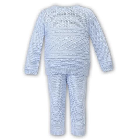 Sarah Louise Dani Boys Blue Knitted 2 Piece Top and Trouser Set D09351