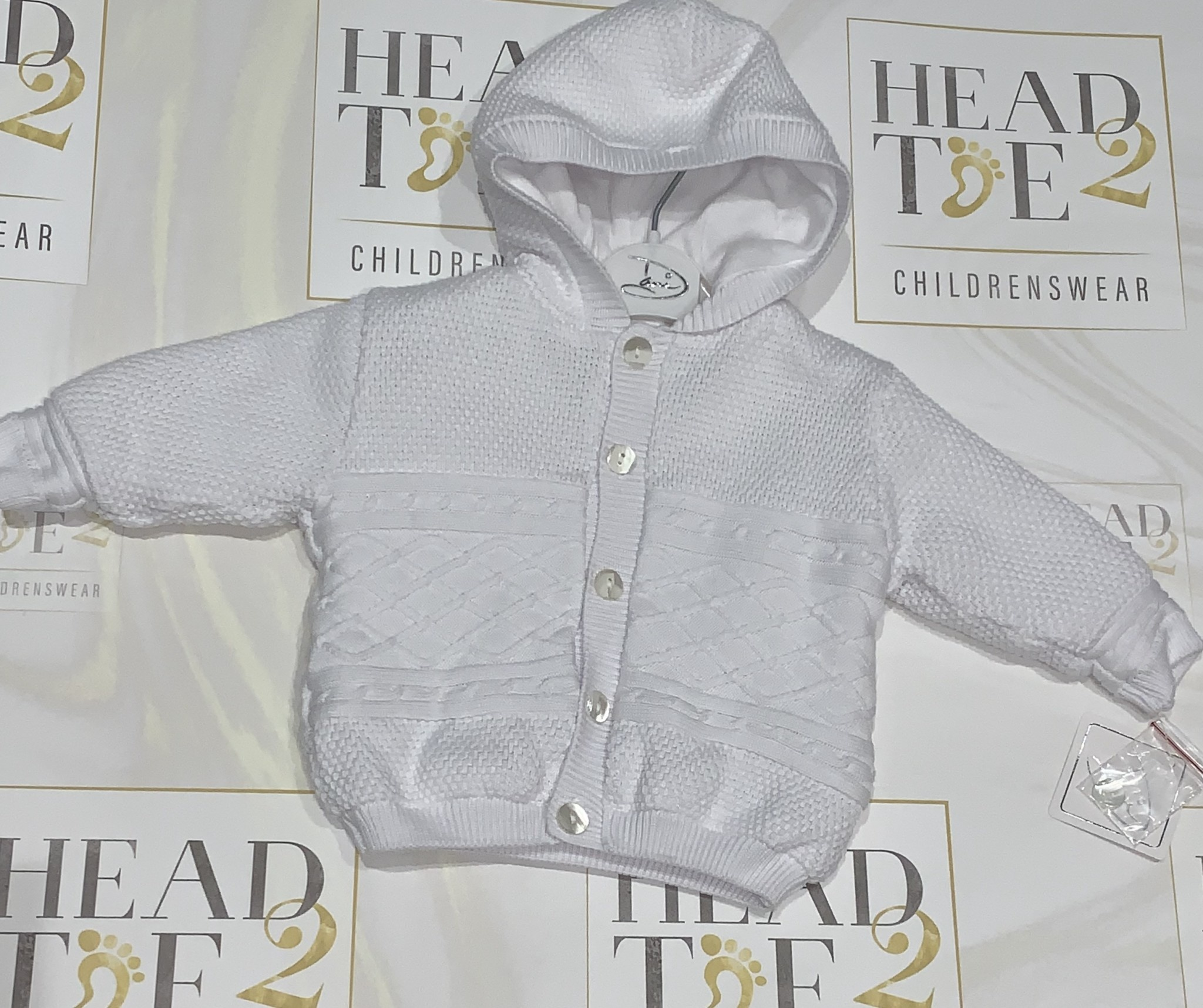 Sarah Louise Dani White Knitted Jacket with Hood D09352 Age 6 months