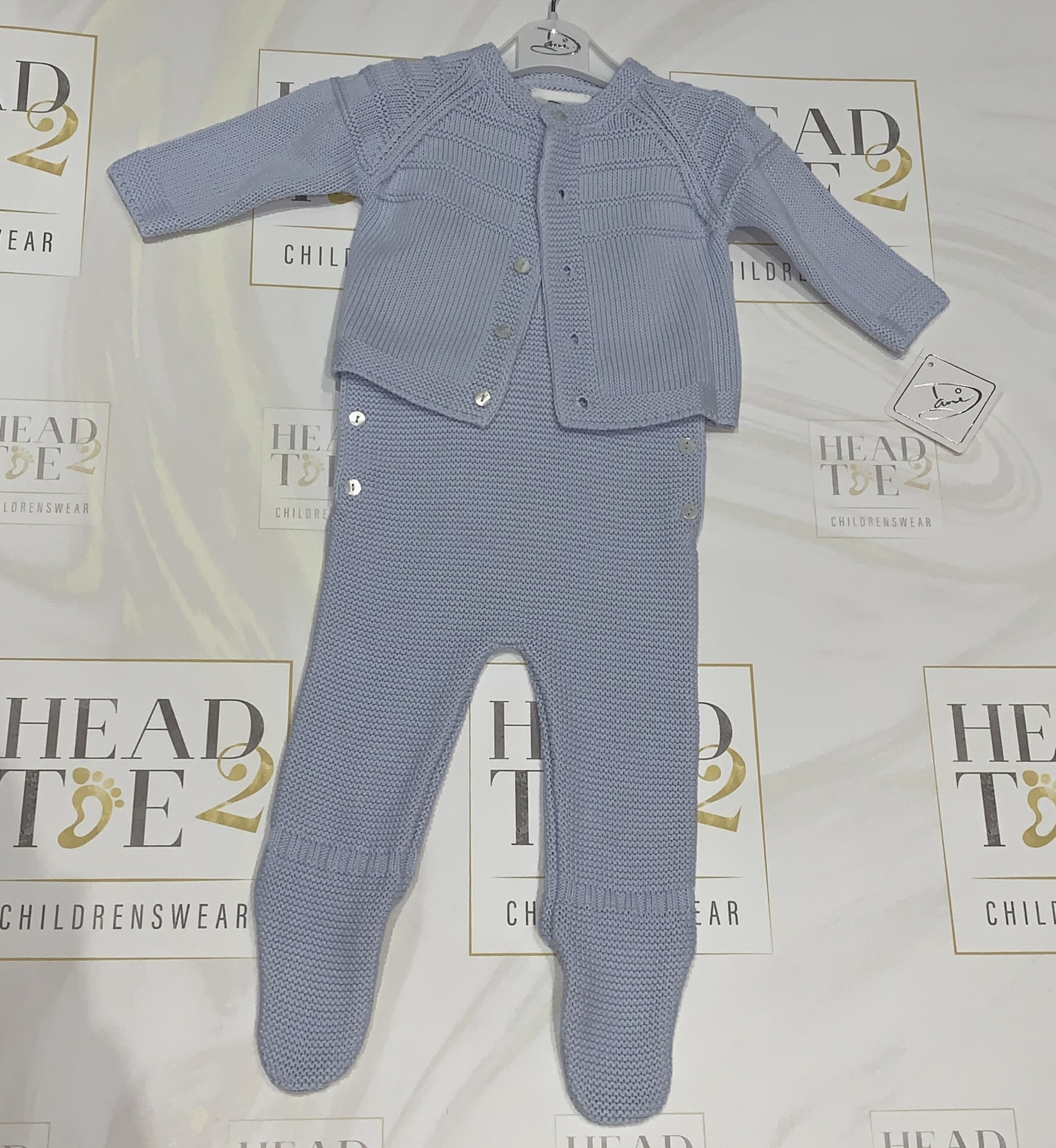 Sarah Louise Dani Boys Blue Knitted All in One with Feet and Cardigan Set D09250
