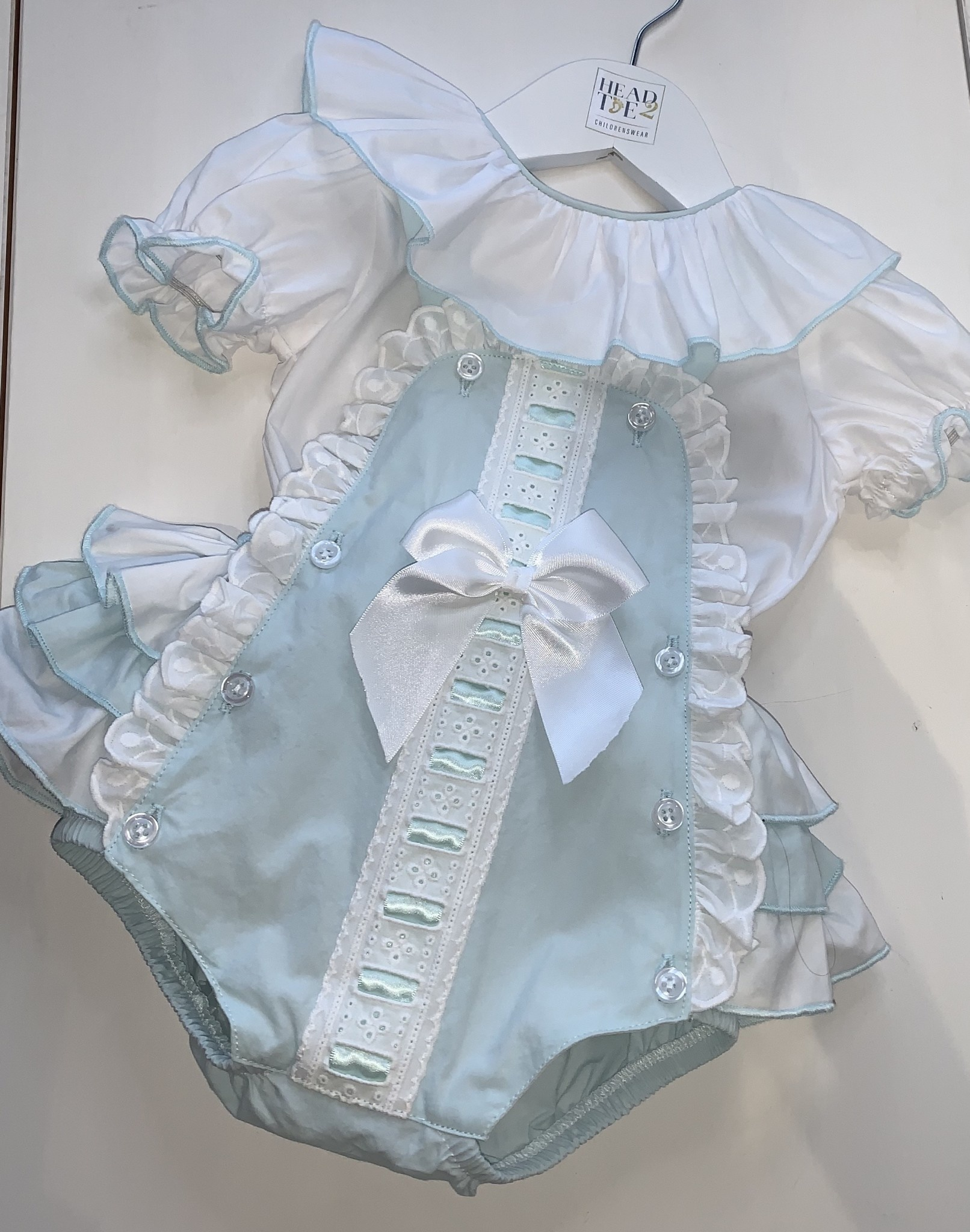 Spanish Mint Green Romper with frill & bow detail