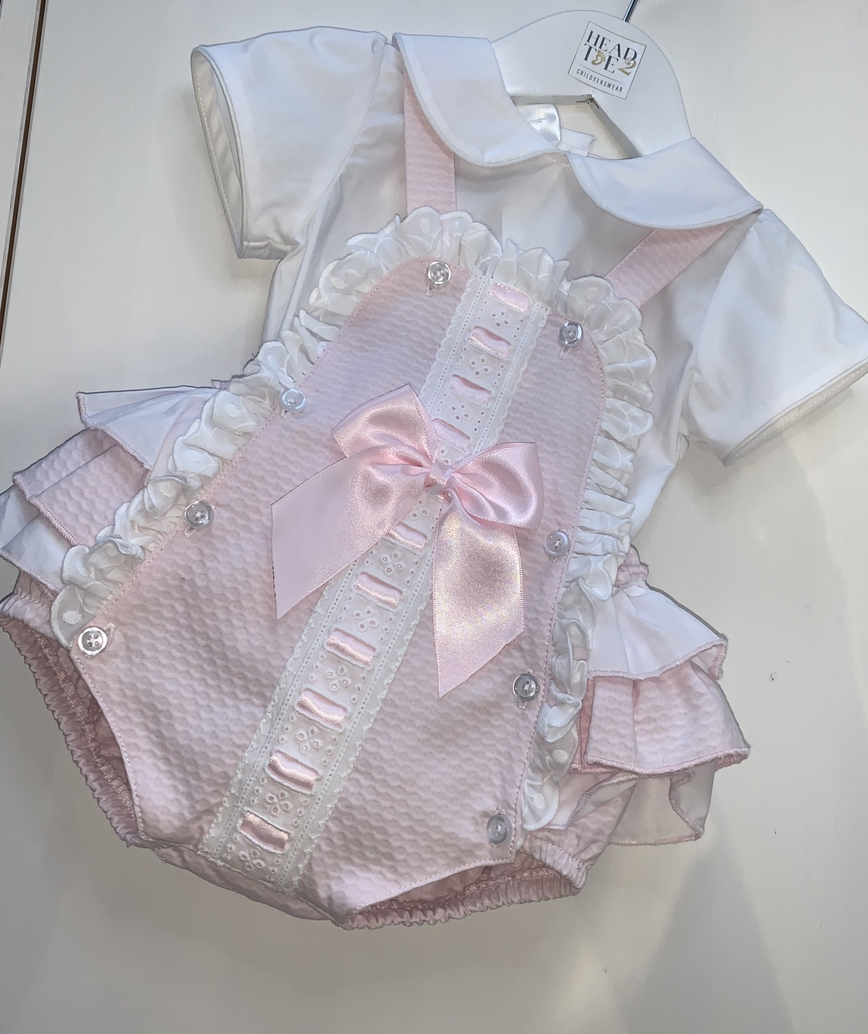 Spanish Pink Romper with frill & Bow Detail