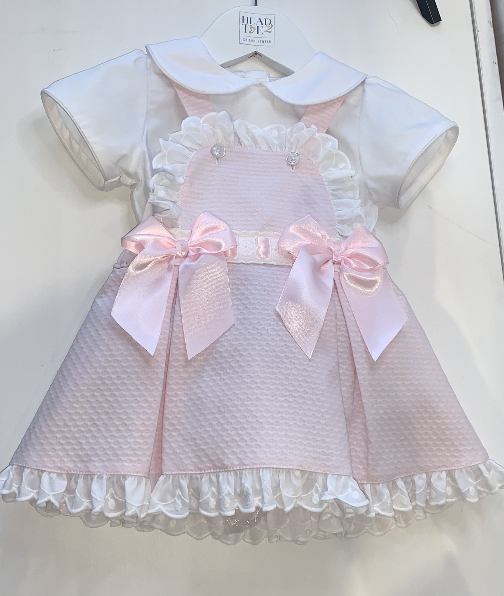 Spanish Girls Pink Dress & shirt with pink satin bows 12/18 Months