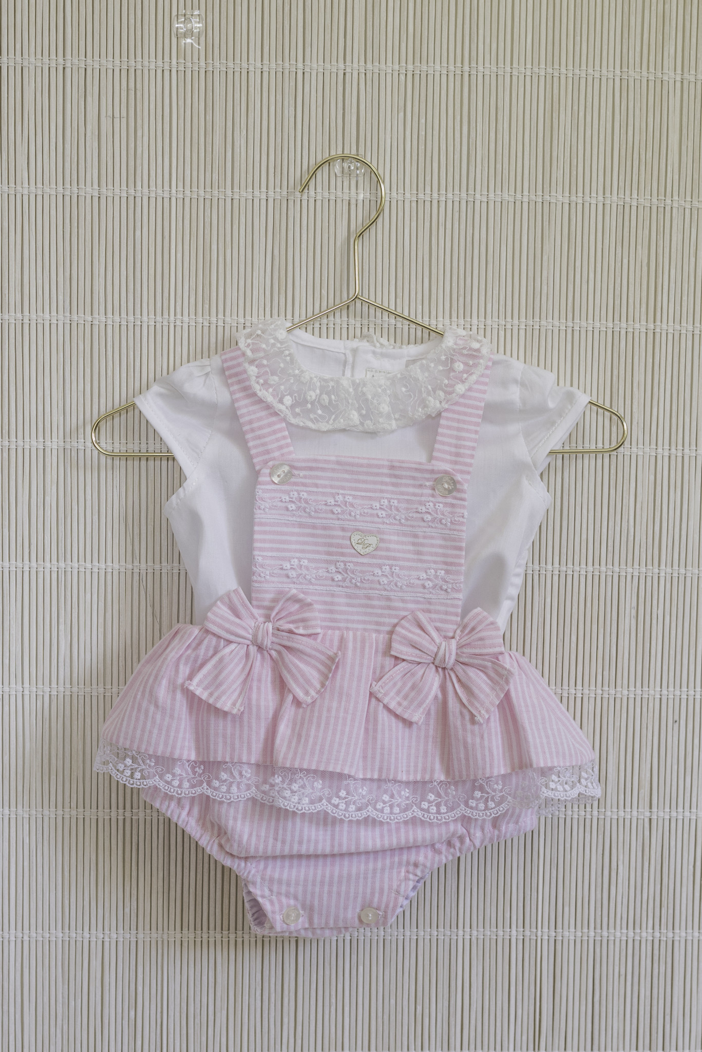 Dolce Petit Dolce Petit SS20 Girls Pink bow jam pant set 2000-23
