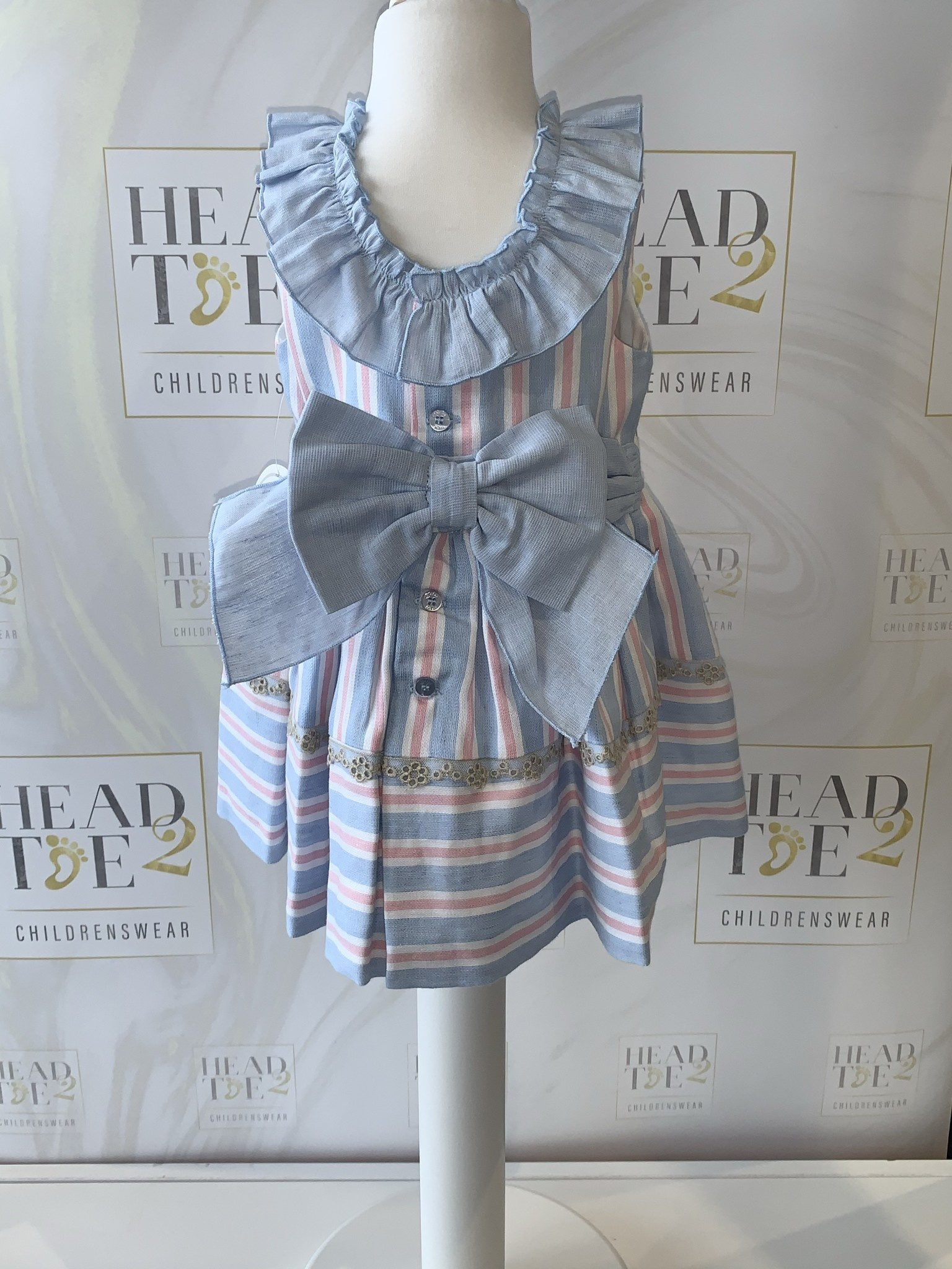 Dolce Petit Dolce Petit SS20 candy Stripped Dress with Pants Bow Detail 2149-VB