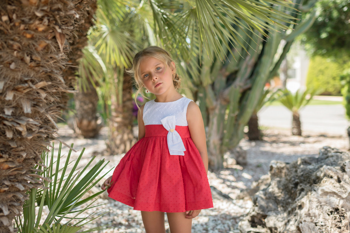 Dolce Petit Dolce Petit SS20 Older Girls Red and White Summer Dress with Bow Detail 2299-V