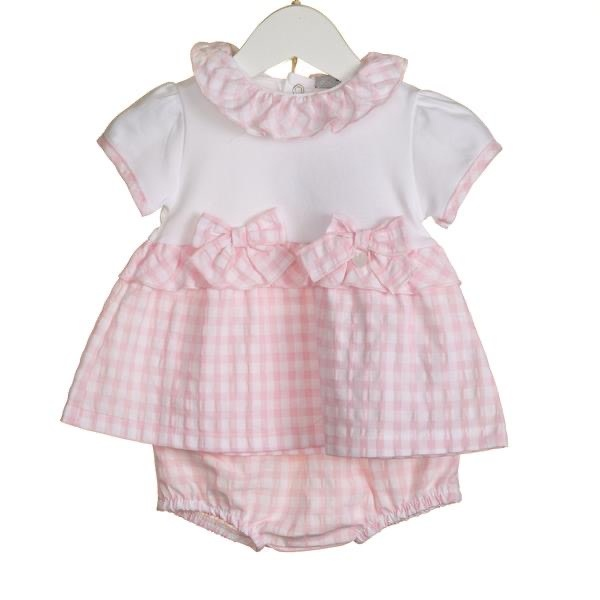 Blues Baby Bluesbaby SS20 Girls 2 Piece Pink Gingham Top and Bloomer Set VV0266