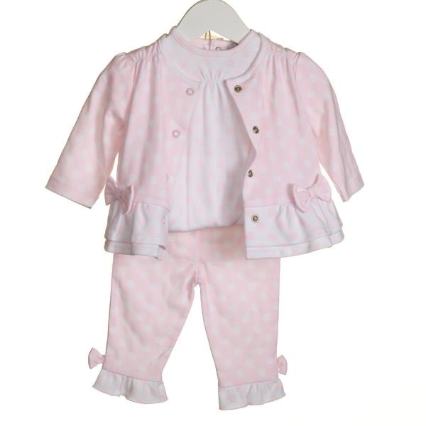 Blues Baby Bluesbaby SS20 Girls 3 Piece Cardi Set Pink/White VV0064