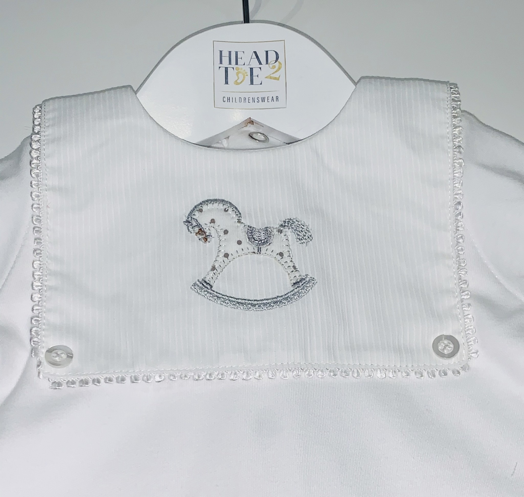Blues Baby Bluesbaby SS20 Unisex White Romper With Horse Embriodery VV0234