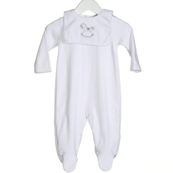 Blues Baby Bluesbaby SS20 Unisex White Interlock Sleeper With Horse Embriodery Bib Attached VV0232