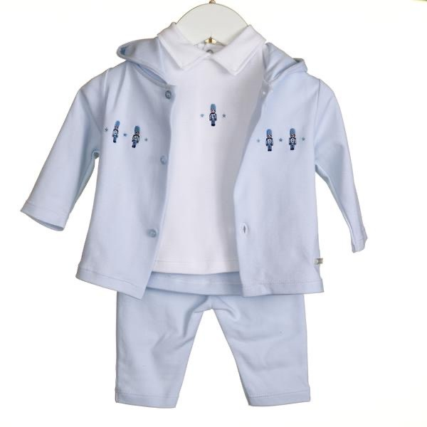 Blues Baby Bluesbaby SS20 Boys 3 Piece Soldier Embriodery Set with Hooded Jacket VV0244