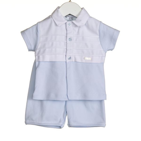 Blues Baby Bluesbaby SS20 Boys Blue 2 Piece Short Set with white Pique Trim VV0220