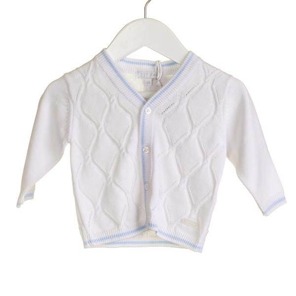 Blues Baby Bluesbaby Zip Zap SS20 Boys off white cardigan with blue trim NN0212