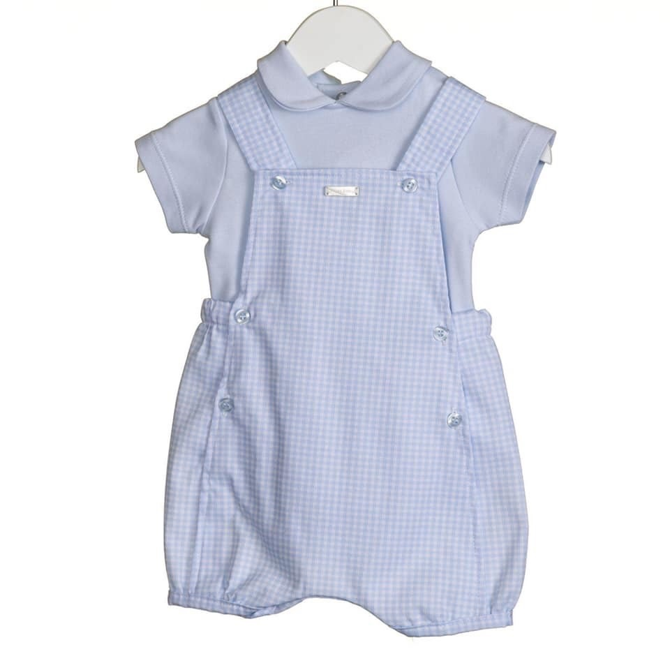 Blues Baby Bluesbaby SS20 Boys Blue Gingham 2 Piece Romper Set VV0212