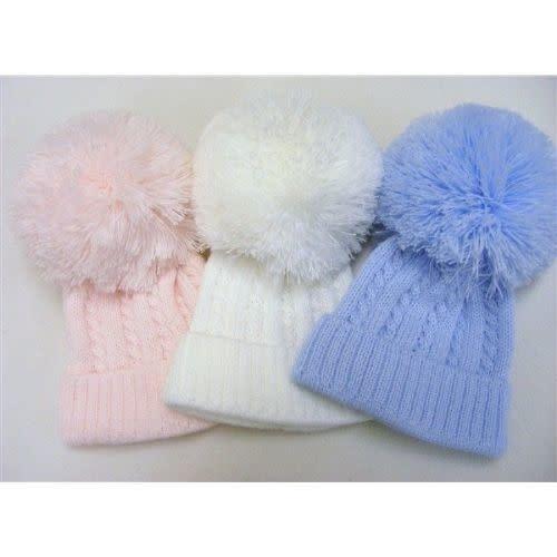 First size baby hats with single Pom Pom