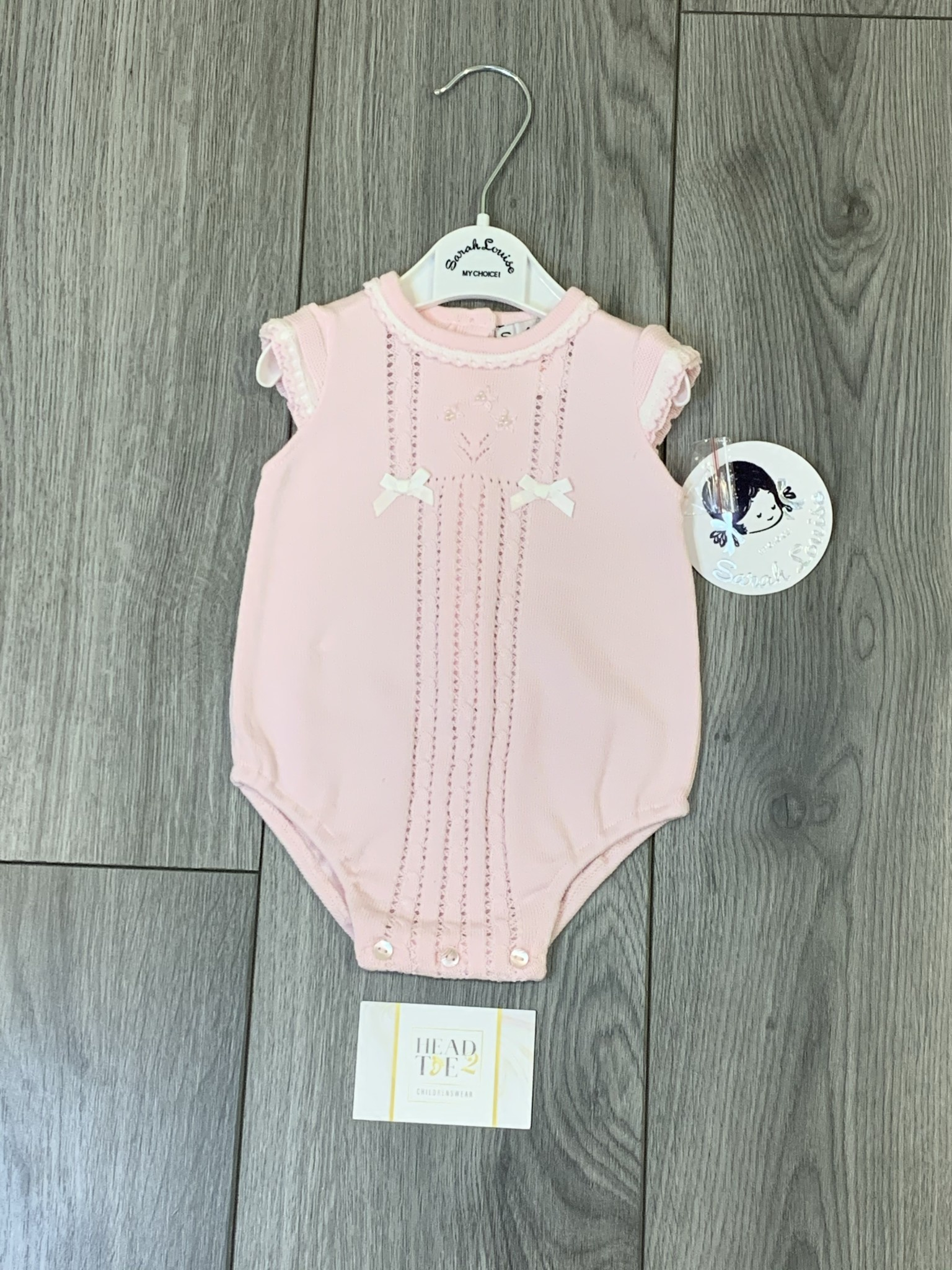 Sarah Louise Sarah Louise SS20 Girls Soft Knit All In One Romper With White Trim 008111