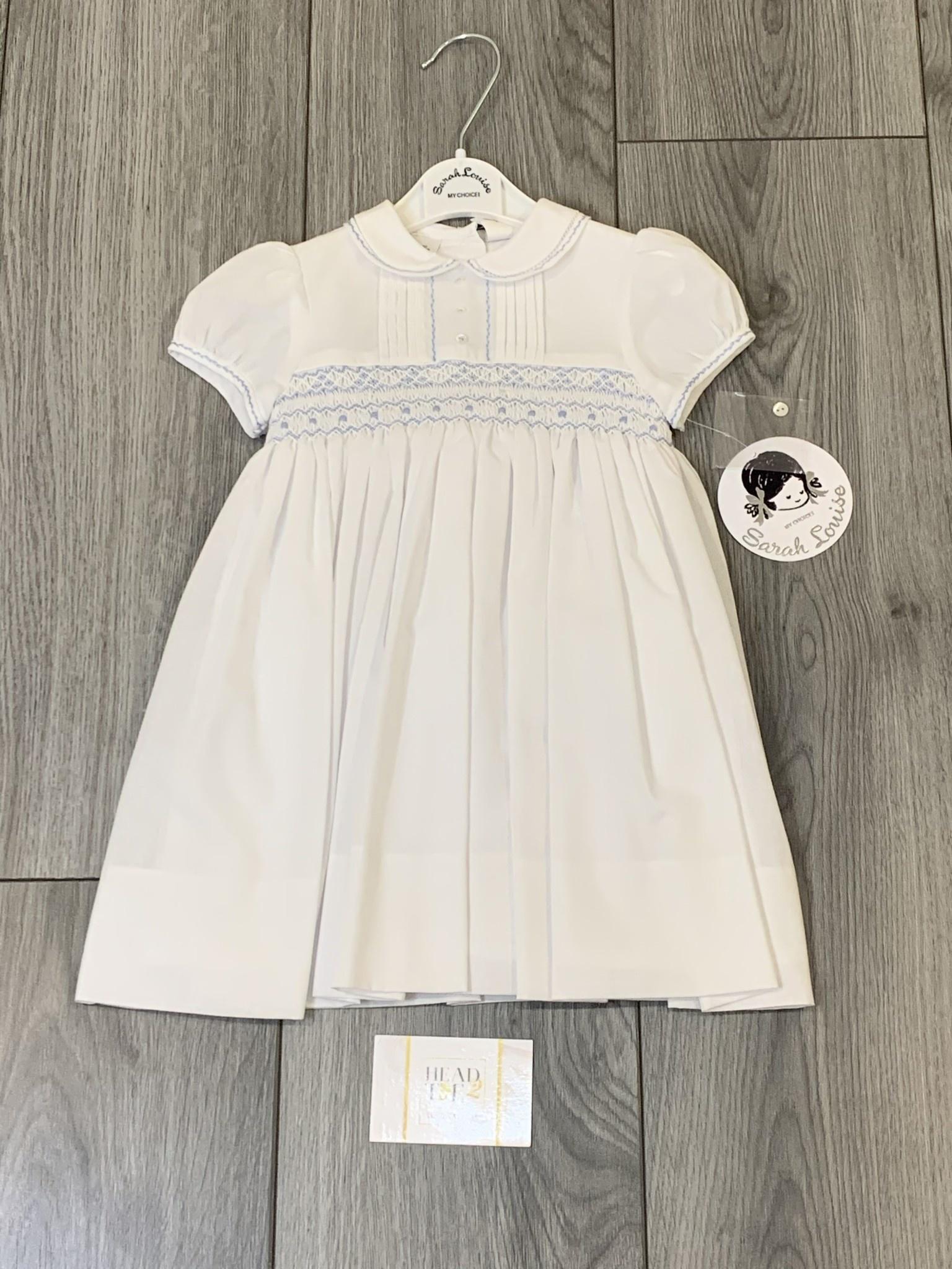 Sarah Louise Sarah Louise SS20 Girls Smocked Dress White With Blue Detail 011856