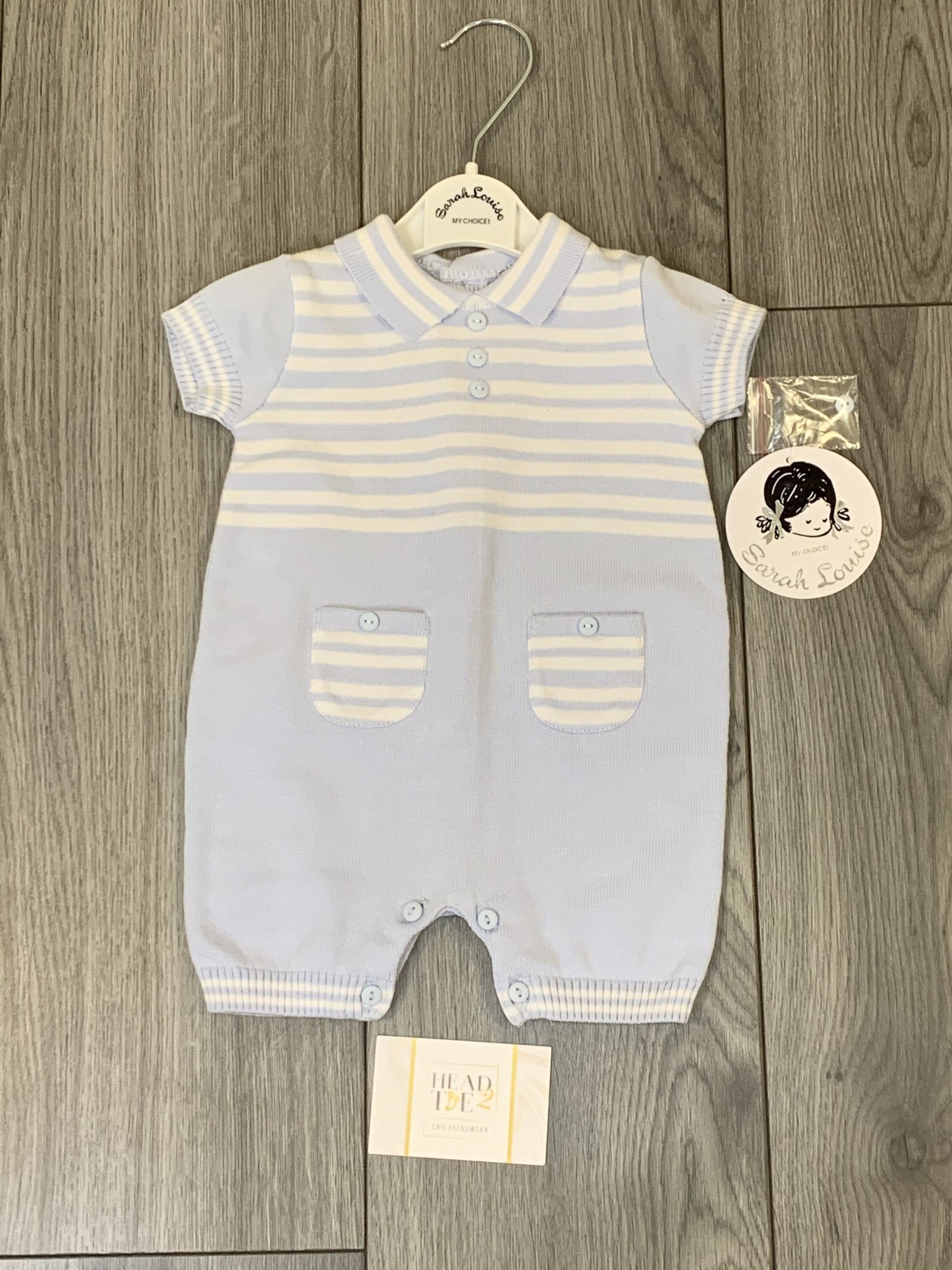 Sarah Louise Sarah Louise SS20 Boys Blue Knit Stripped Romper with Collar 011953