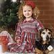 Sarah Louise Sarah Louise AW19 Red and Grey Smocked Dress 011736 Age 3 years