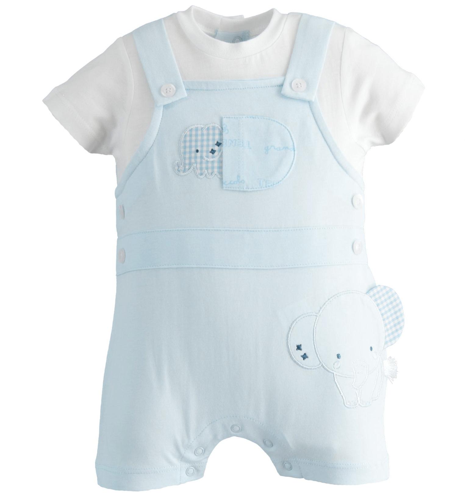 iDo iDO SS20 Baby Boys Blue  All in one elephant romper J080