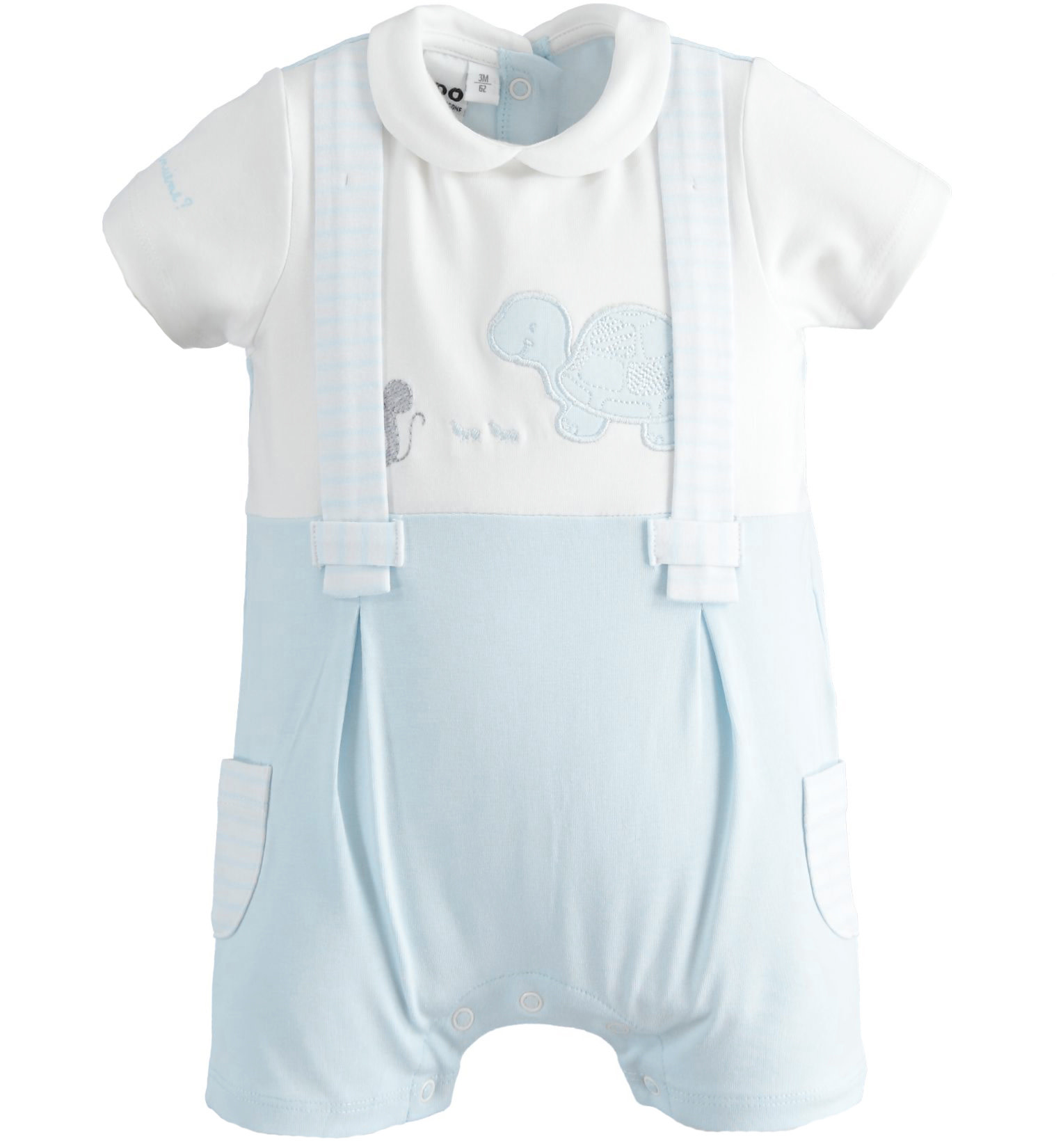 iDo iDO SS20 Baby Boys Blue and White All in One with attached braces J087