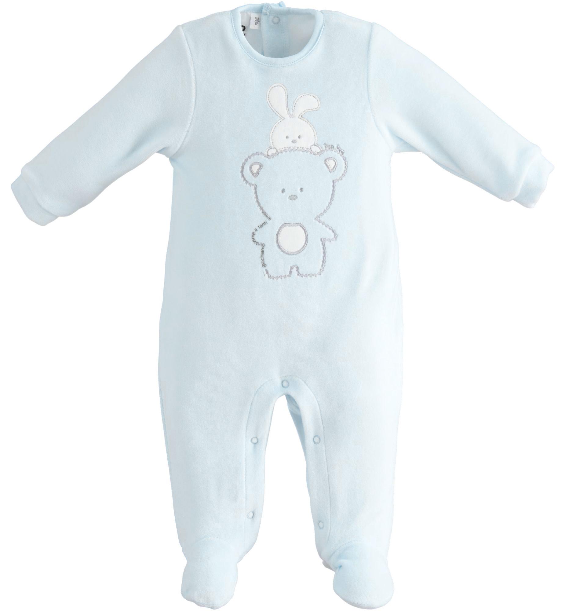 iDo iDO SS20 Baby Boys Blue Velour Babygrow with teddy  J069