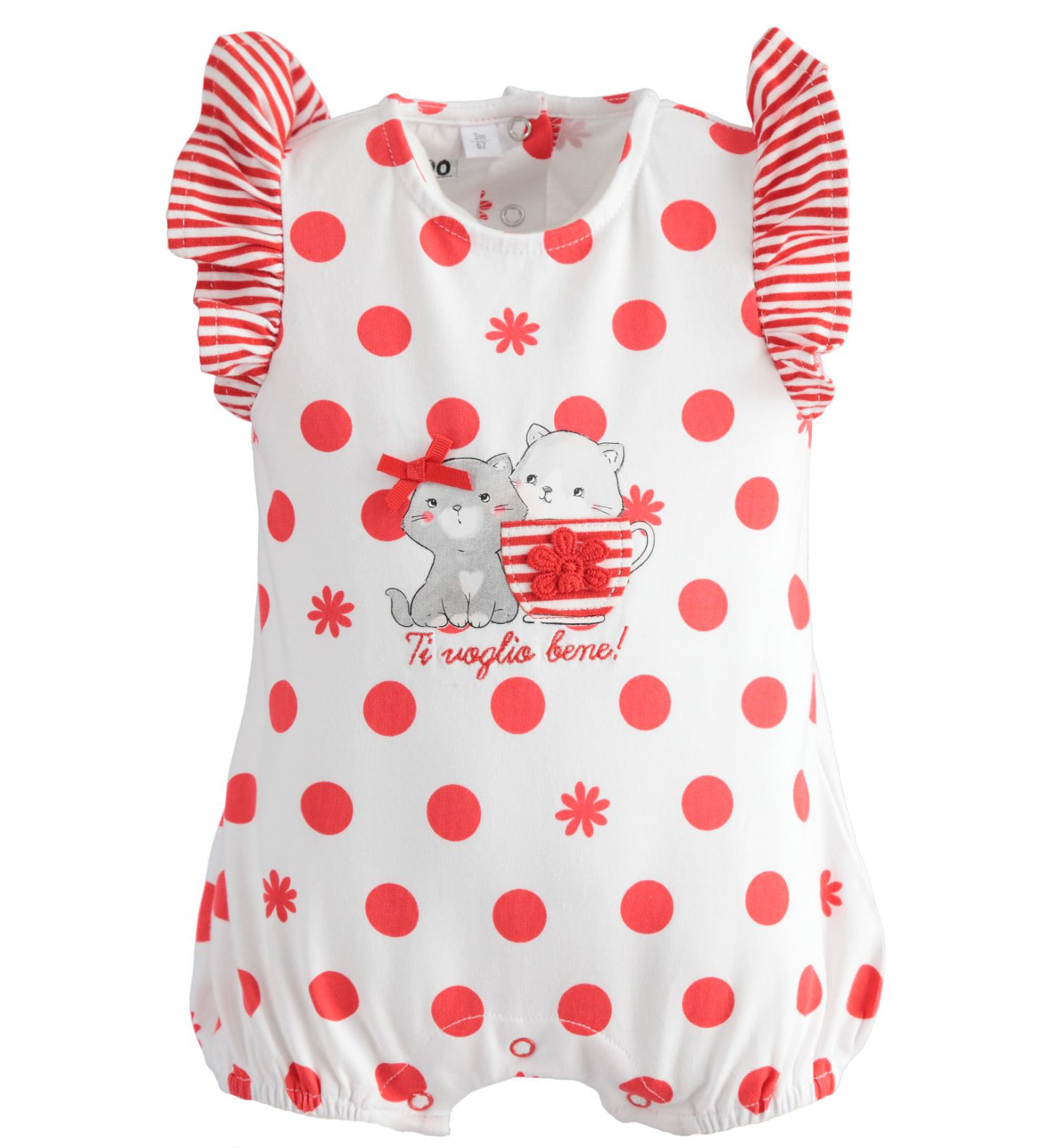 iDo iDo SS20 Baby Girl All in one romper red spot J129