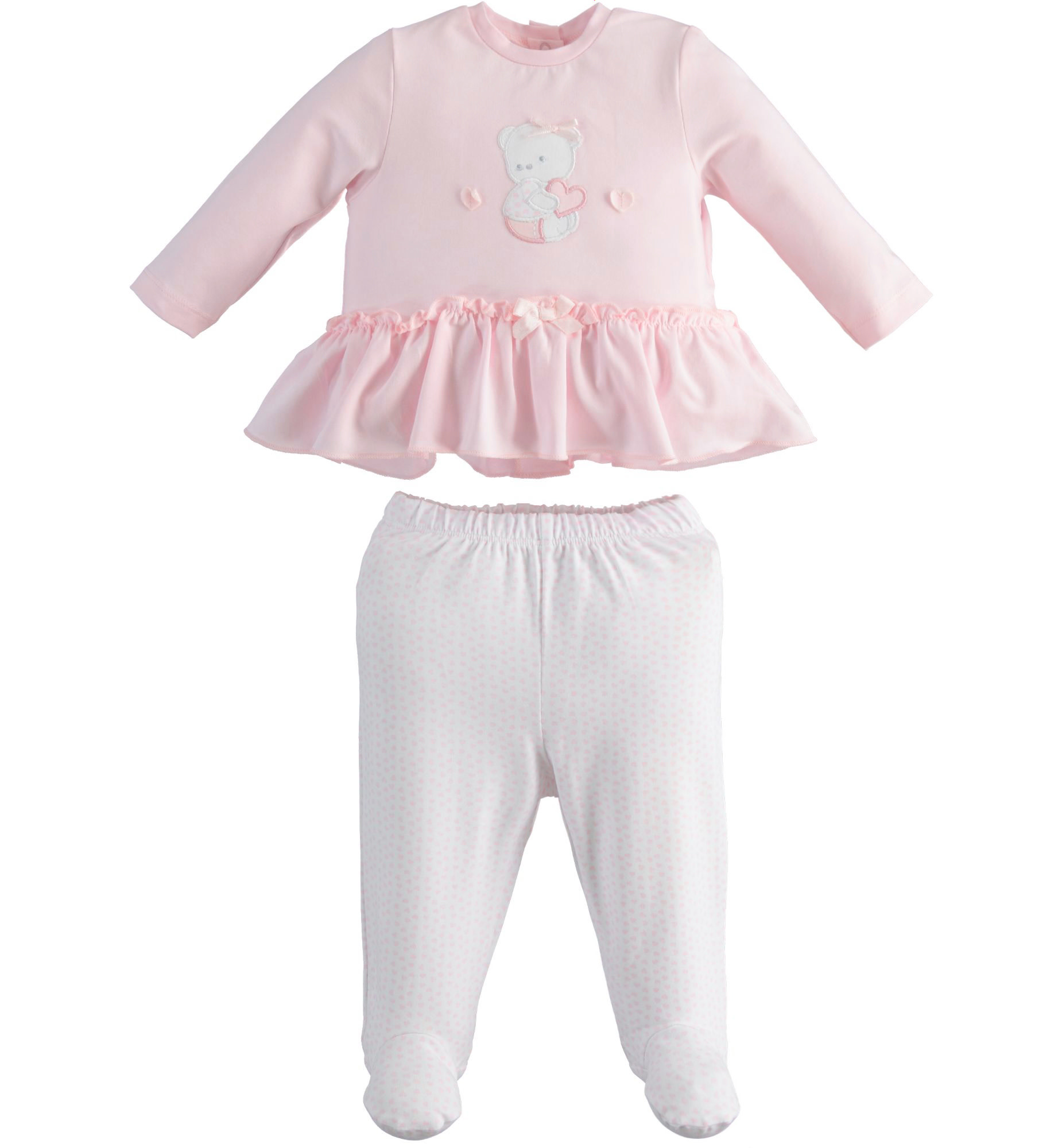 iDo iDO SS20 Baby Girl Pink Teddy 2 piece set with feet J121