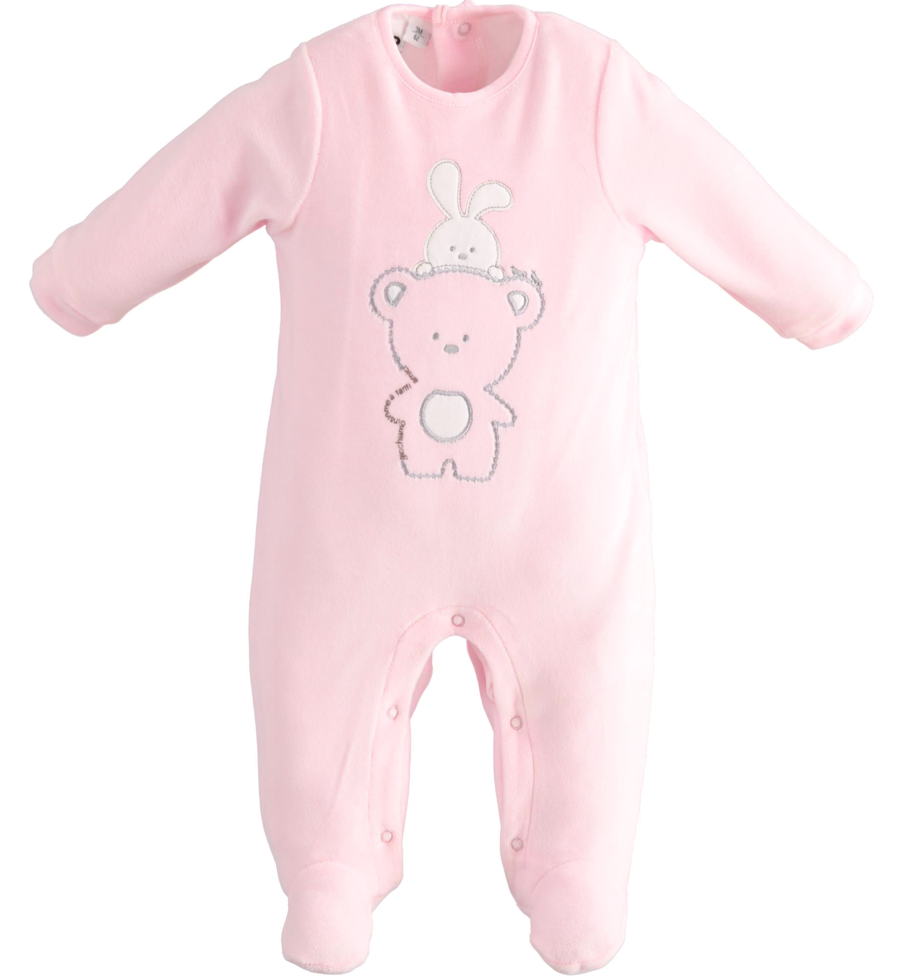 iDo iDO SS20 Baby Girl Pink Velour Babygrow with teddy J069