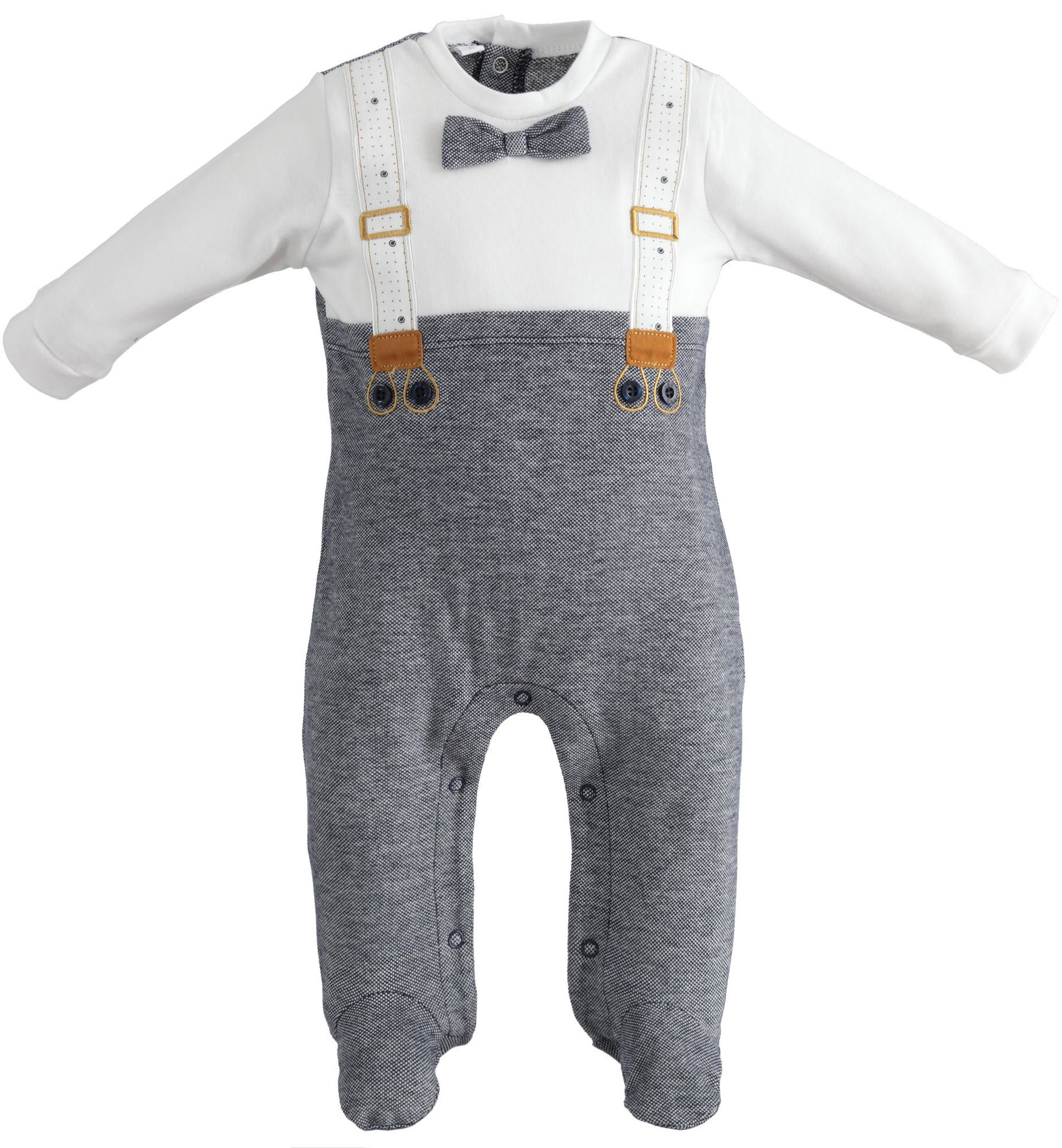 iDo iDO SS20 Baby Boys All in One With Feet Bow tie and braces J063