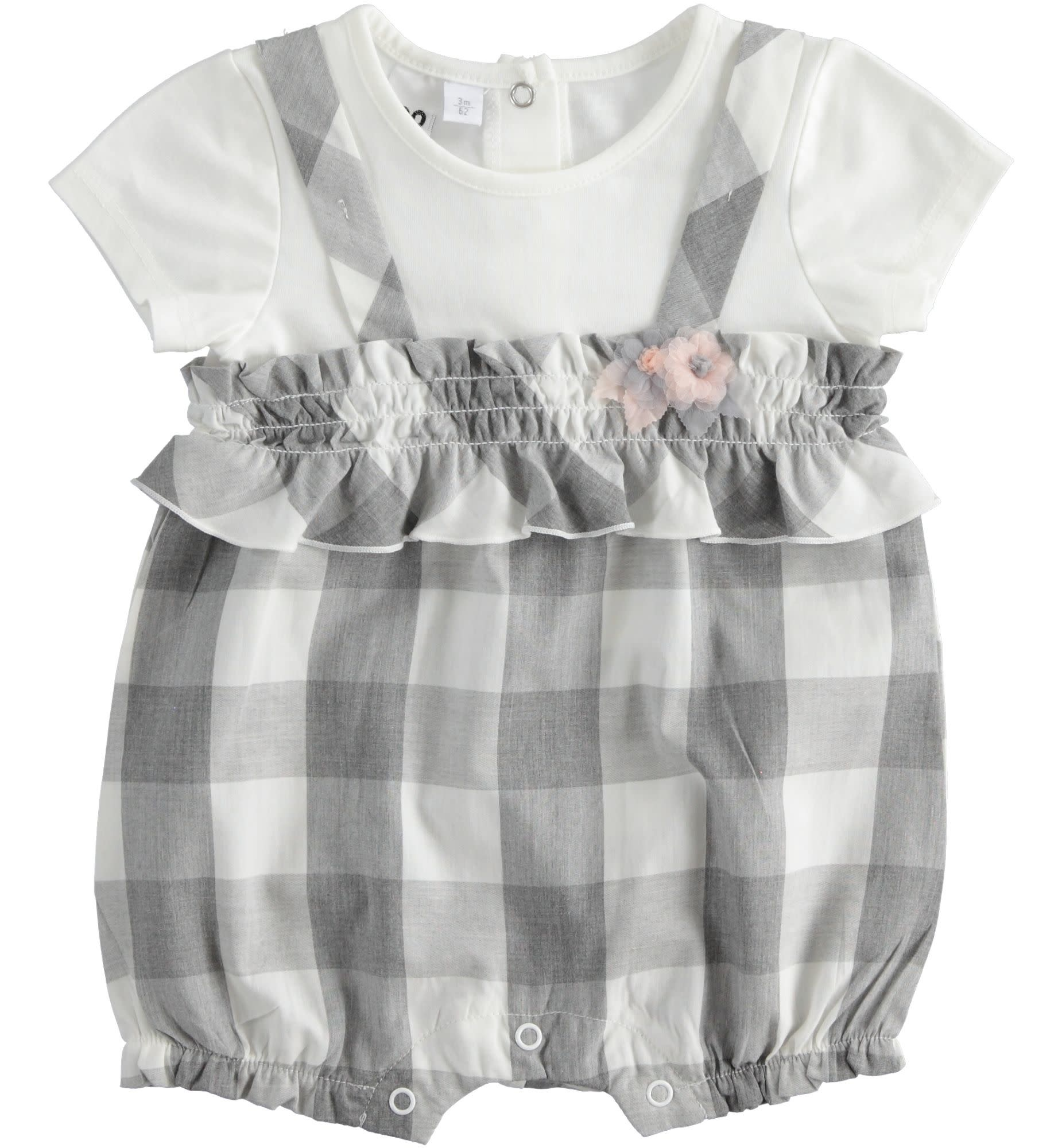iDo iDO SS20 Baby Girl all in one grey romper with pink flower detail J119