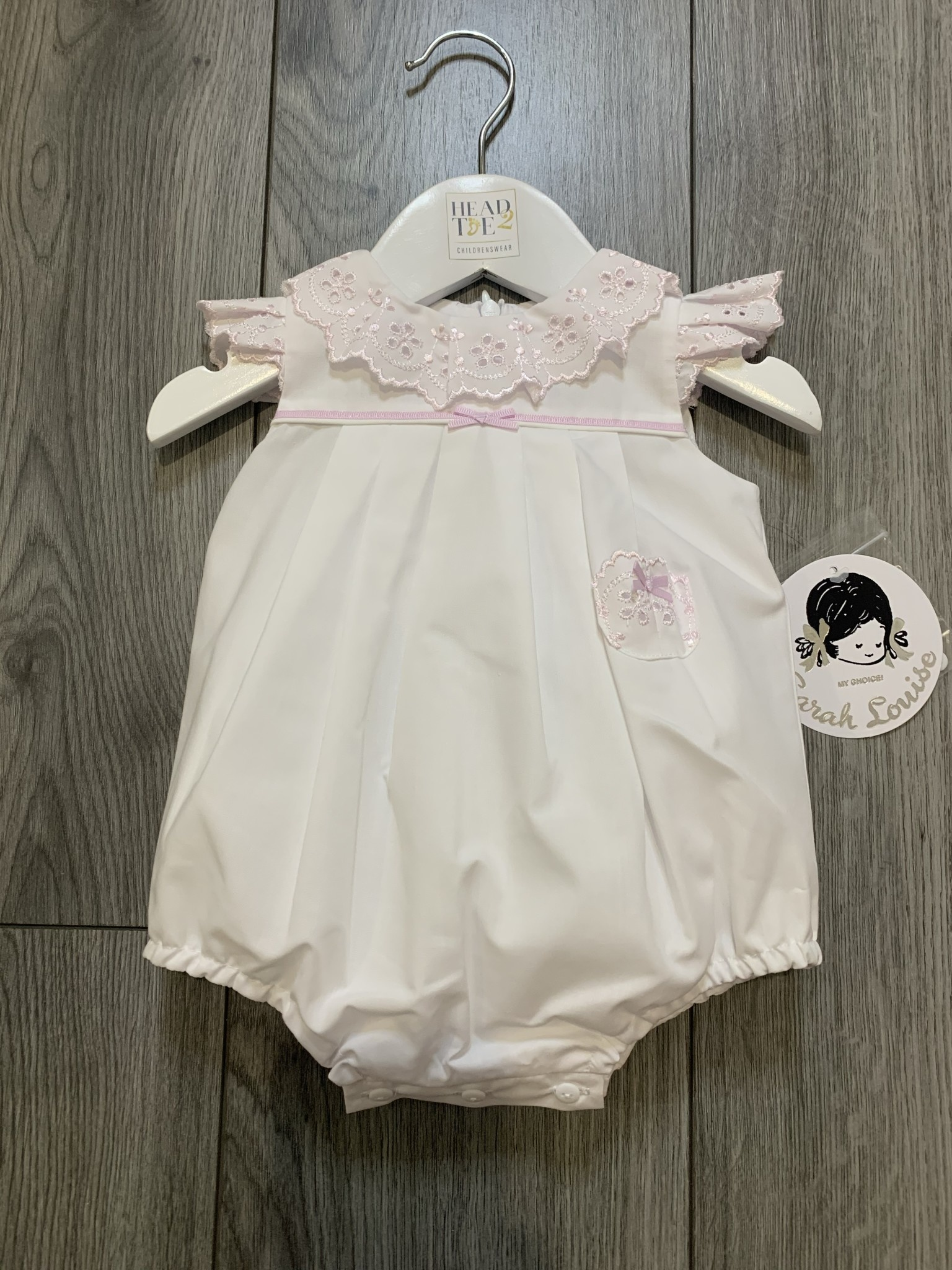 Sarah Louise Sarah Louise SS20 White and Pink Romper 011877