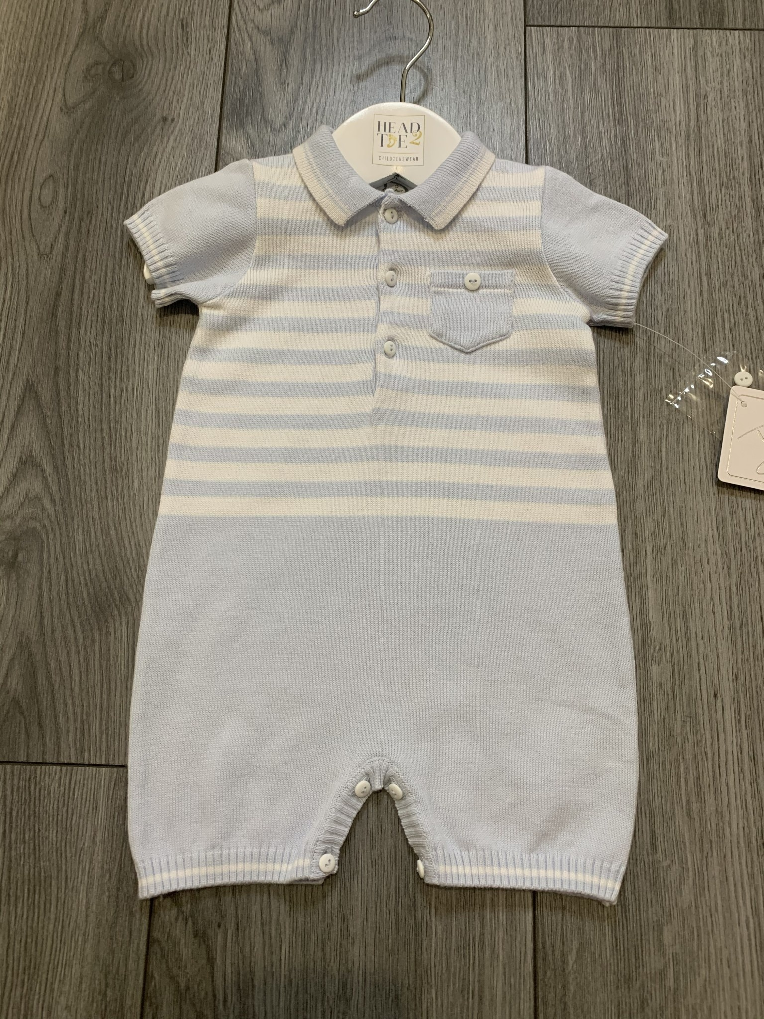 Sarah Louise Dani SS20 Boys All in one blue and white striped soft knit romper with pocket detail D09411