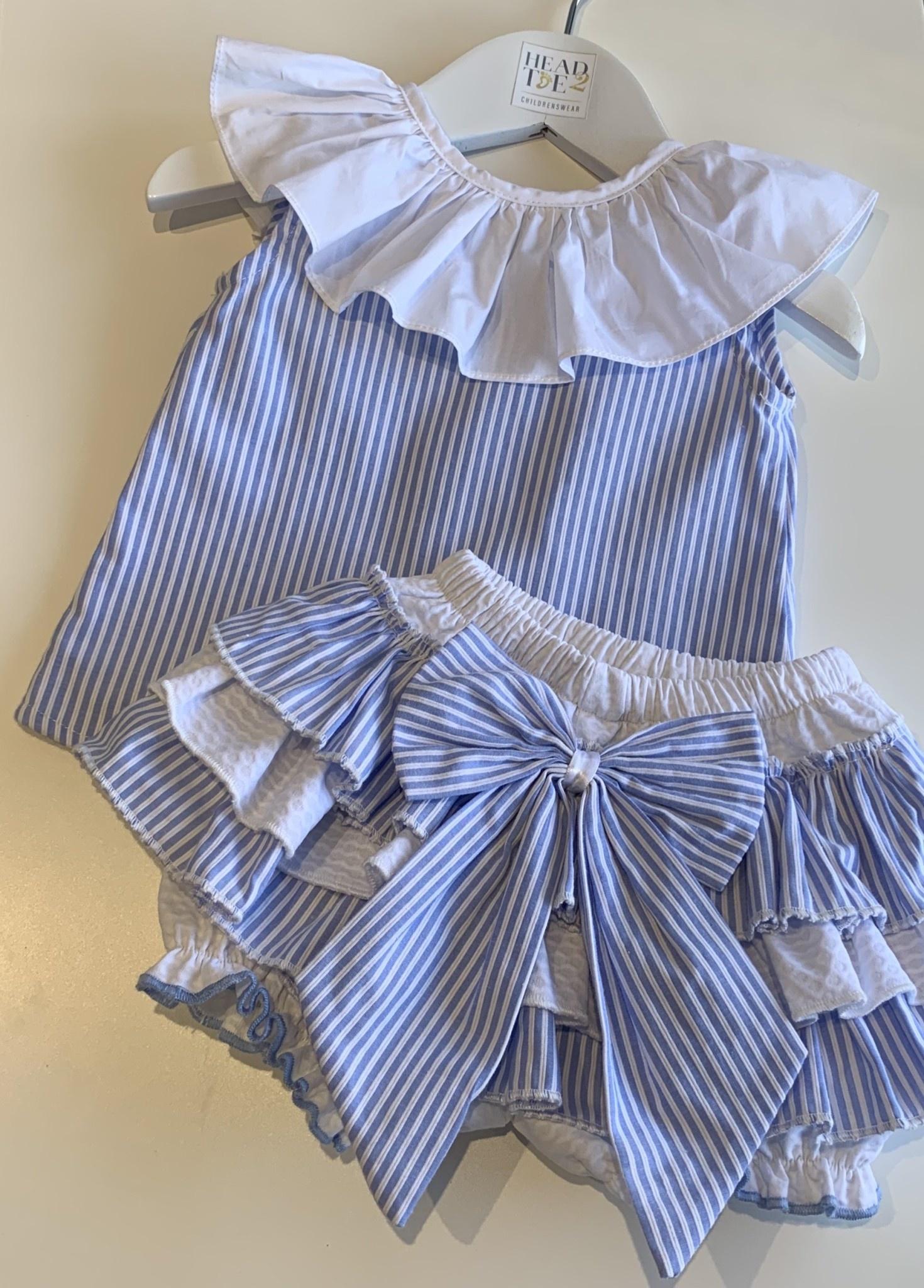 Wee Me Spanish Blue Candy Stripe Bloomer Blouse Set