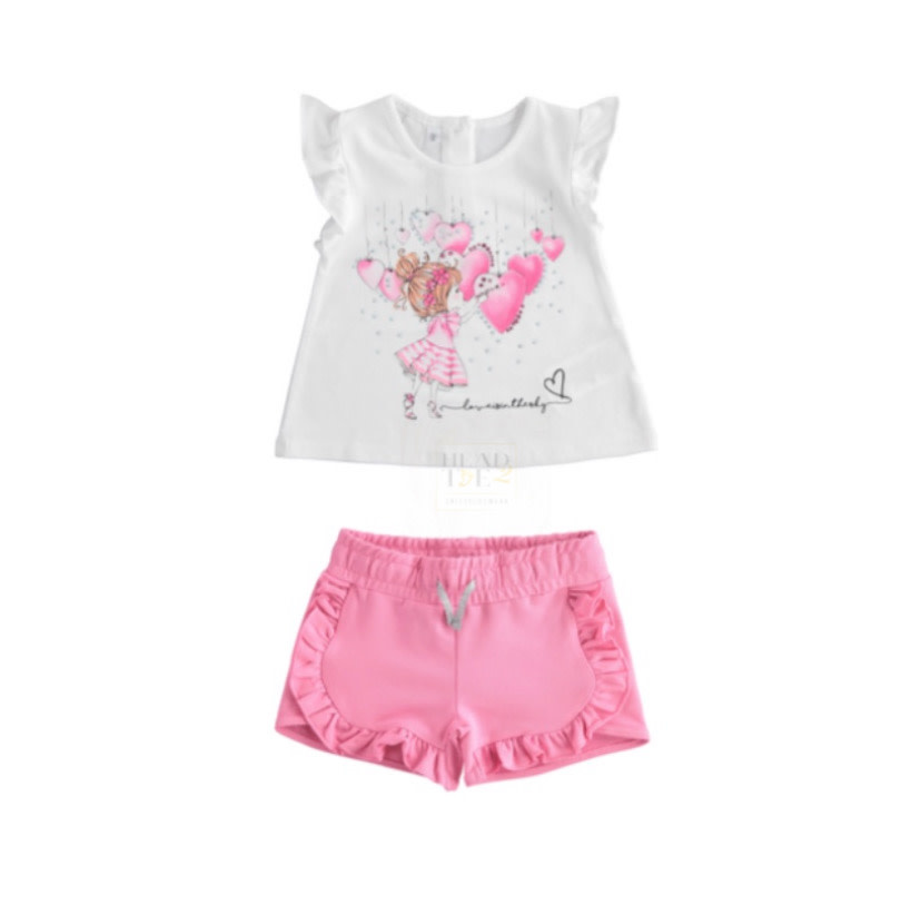 iDo iDO SS20 Girls Pink Diamanté Shorts Set J761
