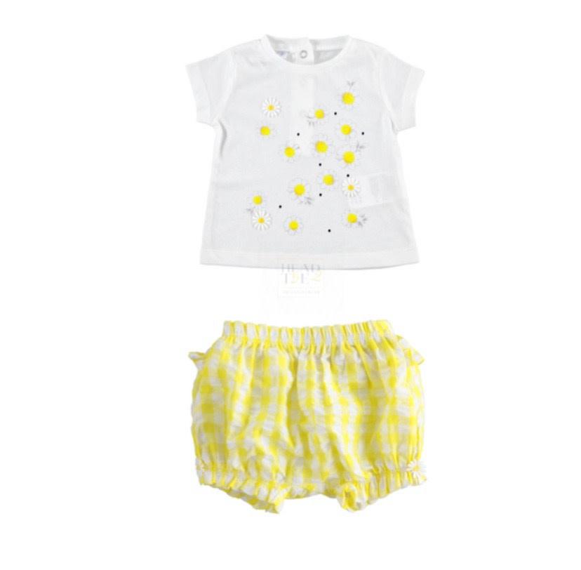 iDo iDO SS20 Girl Yellow Daisy Gingham Short Set J632