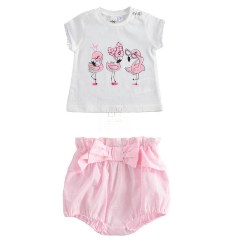 iDo iDO SS20 Girls Pink Flamingo Bow Jam Pants Set J630