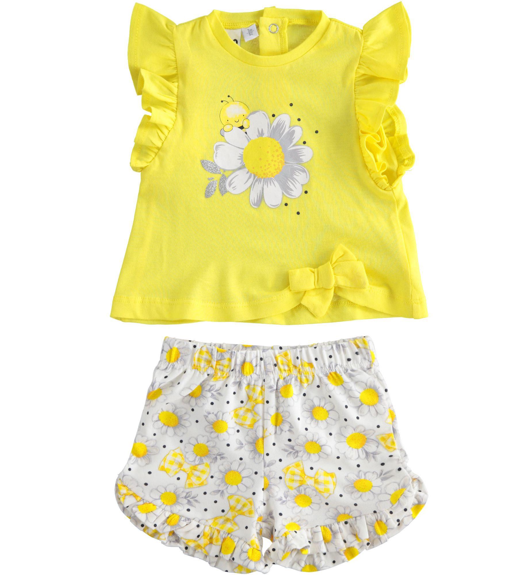 iDo iDO SS20 Girls Yellow Bee Daisy Shorts Set J654