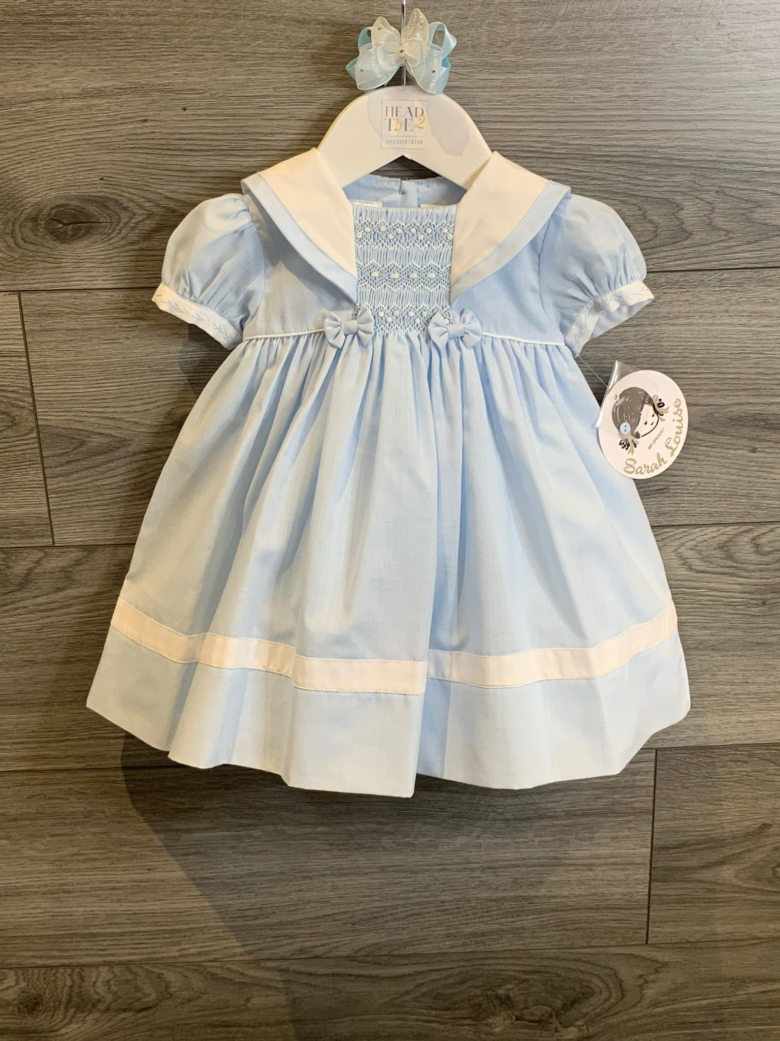 Sarah Louise Sarah Louise SS20 Pale Blue and White Smocked Dress 011869