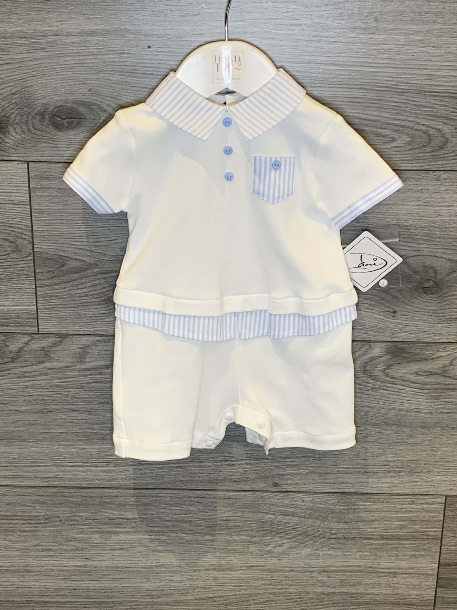 Sarah Louise Sarah Louise Dani SS20 Boys White All in One with blue striped detail D09400