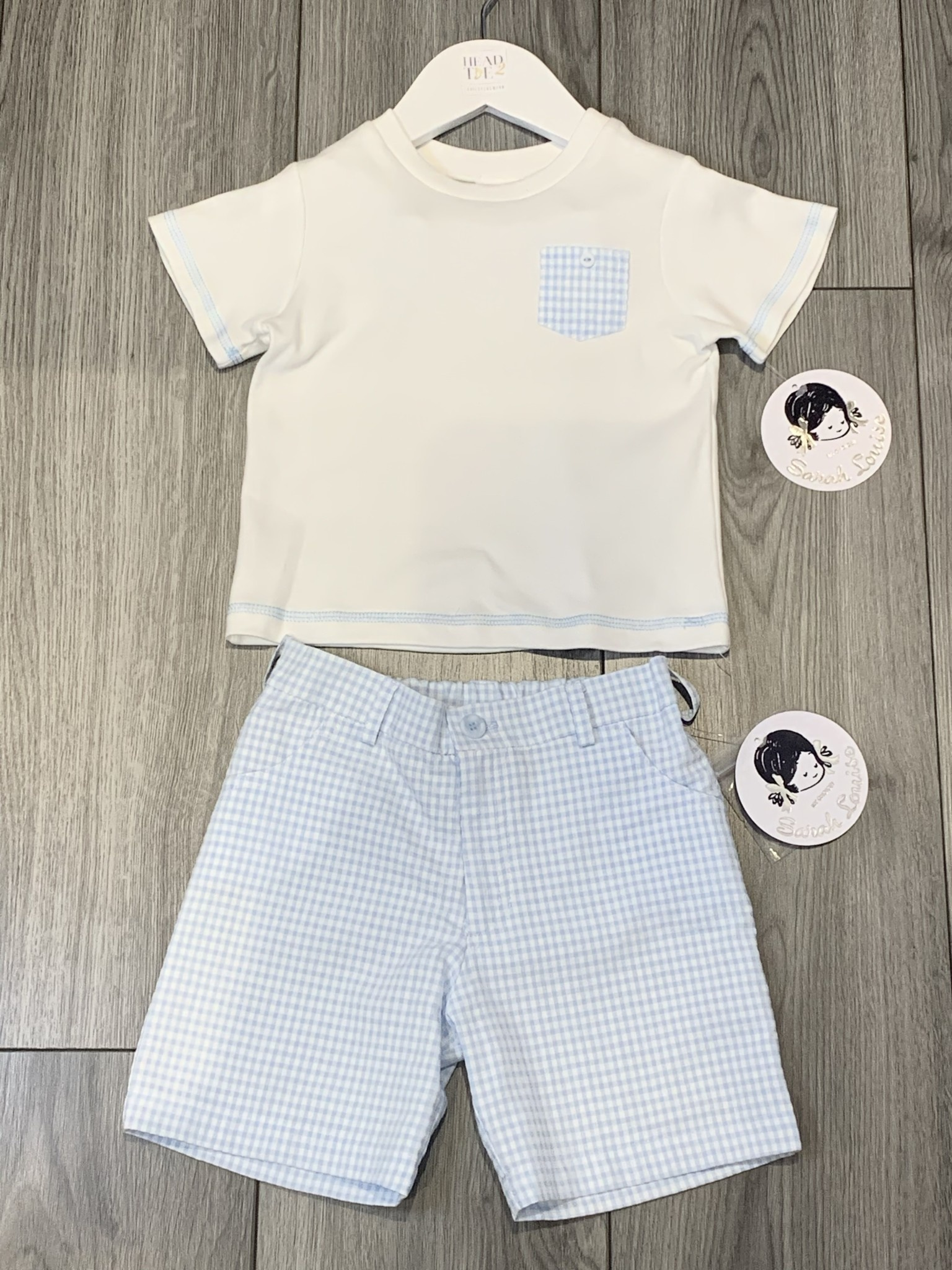 Sarah Louise Sarah Louise SS20 Boys Blue Gingham short set 011993