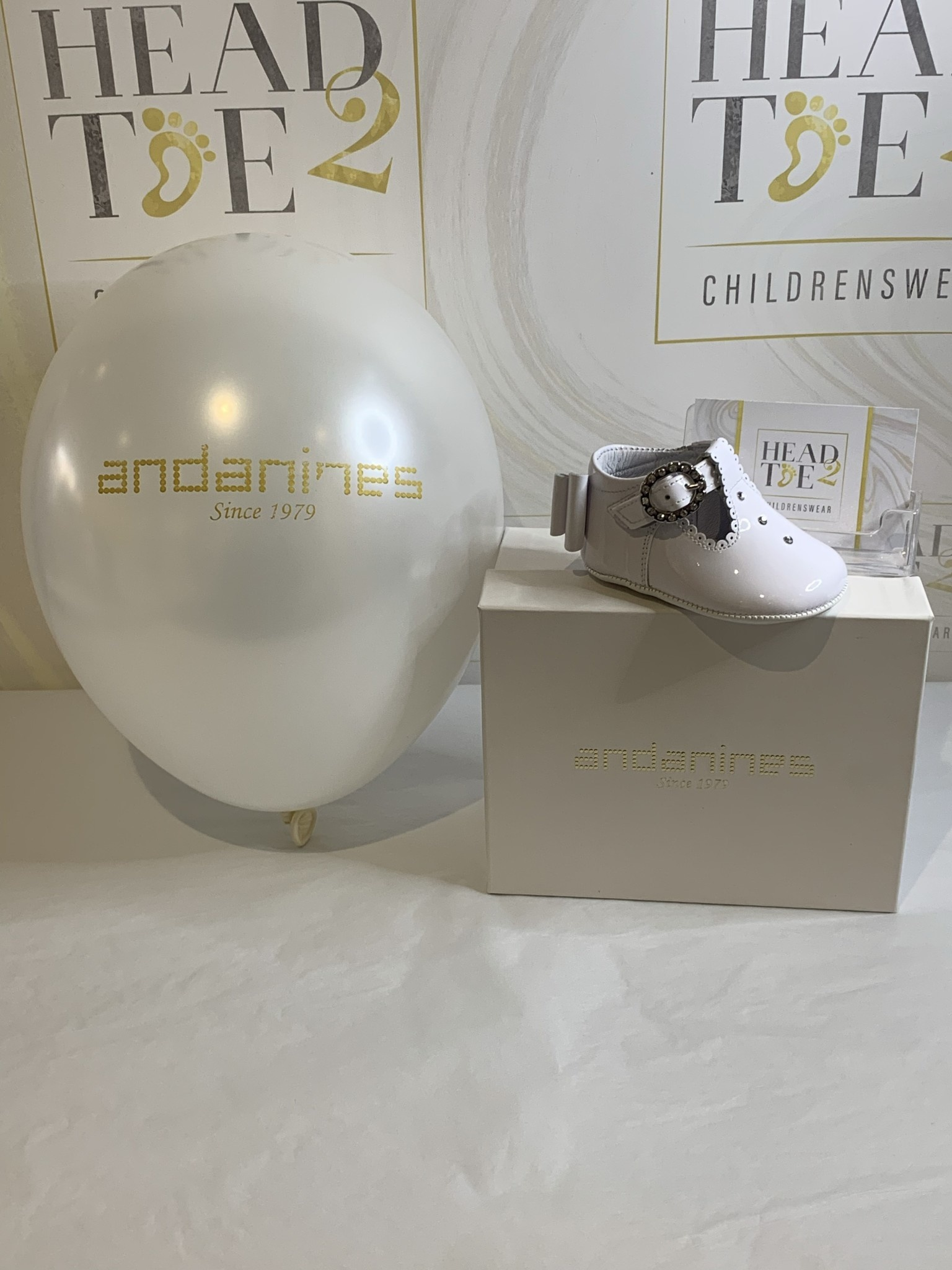 Andanines Andanines BABY GIRLS WHITE PATENT  DIAMANTE PRE-WALKER SHOES 201809