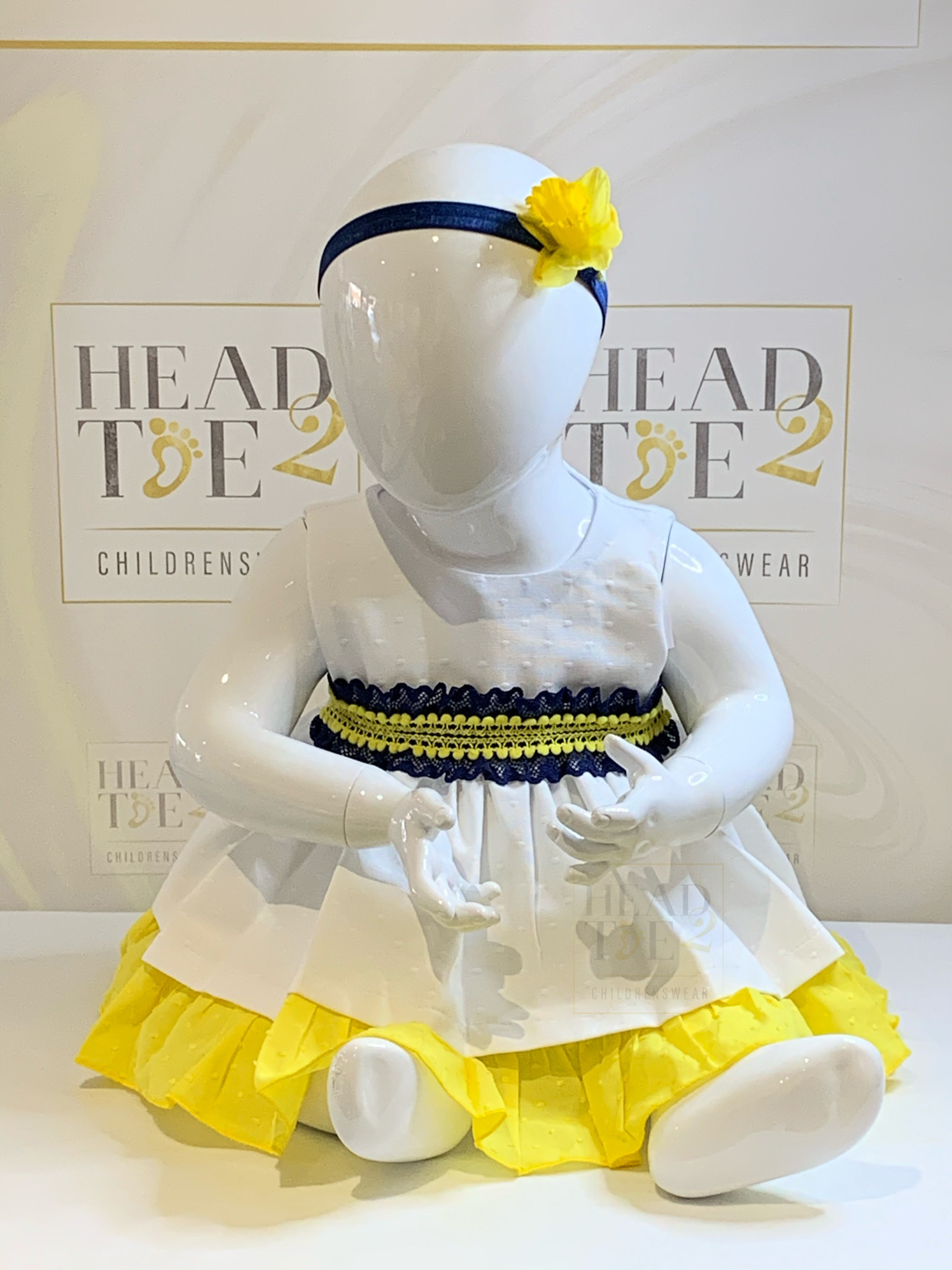 Wee Me Wee Me White/Navy/Yellow Dress with Pants K67