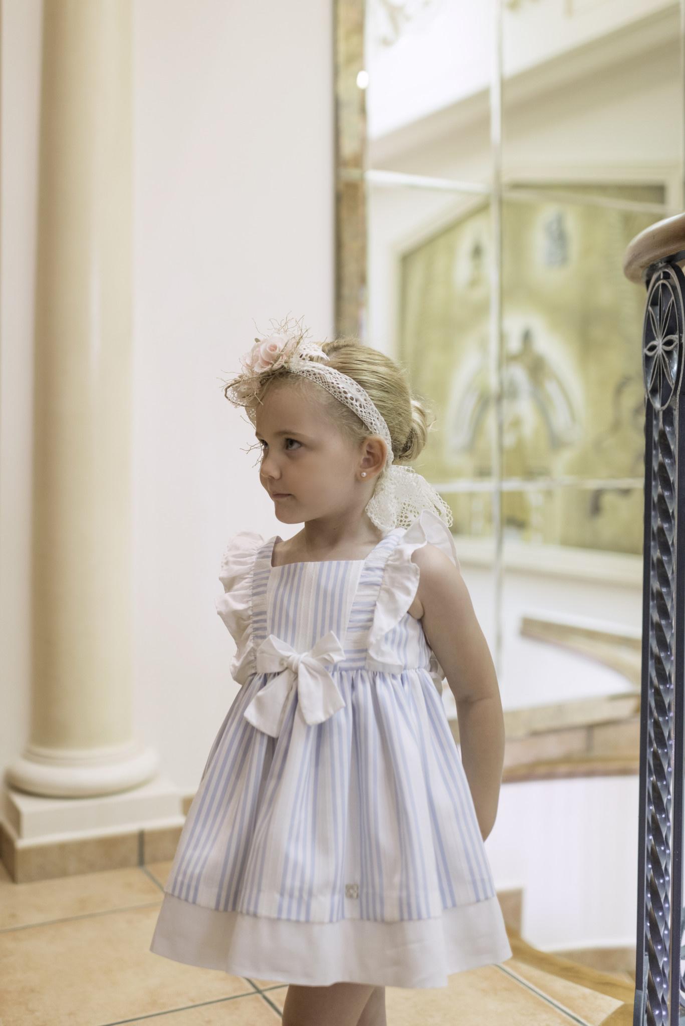 Dolce Petit Dolce Petit Blue Stripe Bow Dress 2291/V